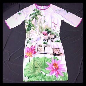 BRAND NEW! 100% Silk Scenic Print Tunic